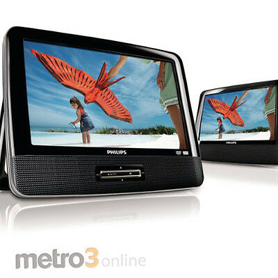 """9"""" Philips PD9012 Twin Dual Screen Portable In Car DVD Player REGION FREE"""