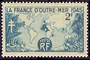 FRANCE-TIMBRE-STAMP-N-741-034-LA-FRANCE-D-039-OUTRE-MER-1945-034-NEUF-X-TB