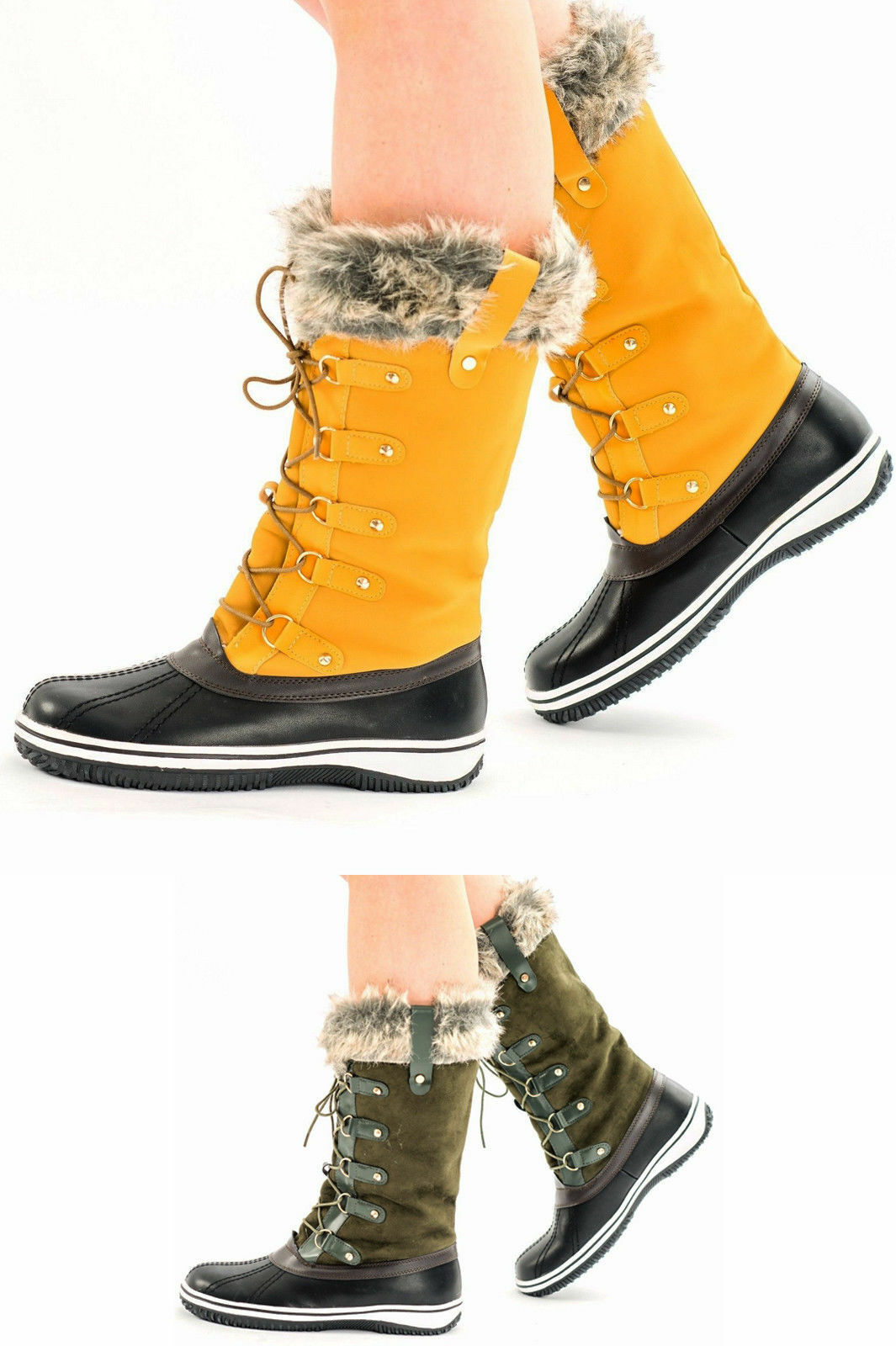 Zapatos promocionales para hombres y mujeres Ladies Snow Mid Calf Winter Womens Boots Fur Lined Warm Shoes Thick  Flat Sole