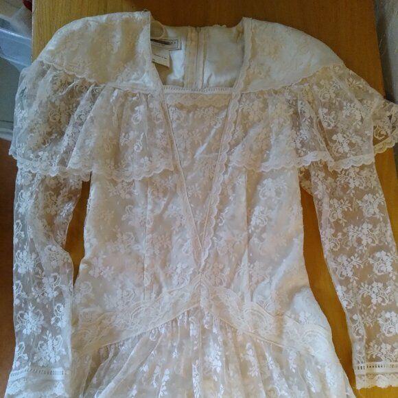 Vintage Gunne Sax White Lace Prairie Dress - image 1