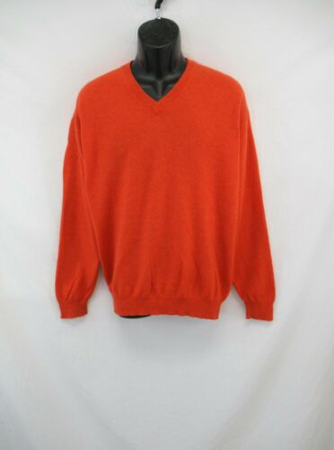Paul Simon Men's 100% Cashmere Orange V-Neck Swea… - image 1