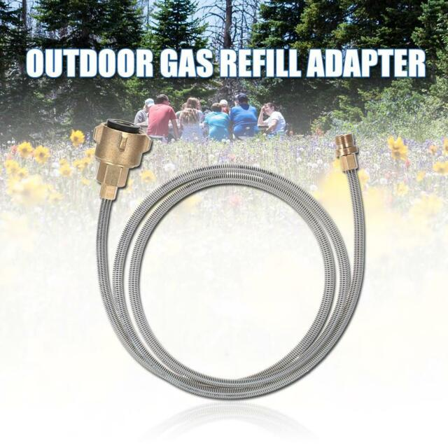 Outdoor Camping Stove Propane Gas Refill Adapter Flat Cylinder Tank Coupler R1Y8