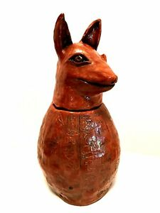 Egyptian-Canopic-Jar-Duamutef-Handcrafted-Pottery-Estate-Find-13-inches-Tall