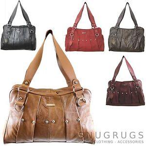 SALE-REAL-LEATHER-Vintage-Handbag-Ladies-Tote-Shoulder-Bag-Black-Red-Tan-Brown