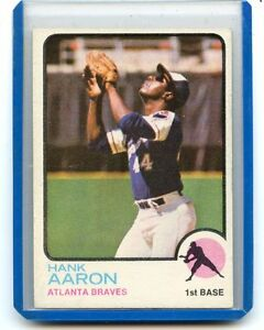 1973 Topps 100 Hank Aaron Baseball Card Atlanta Braves