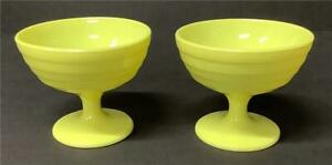 2 Vintage SHERBET CUPS Hazel Atlas Moderntone Yellow Custard Dessert Platonite