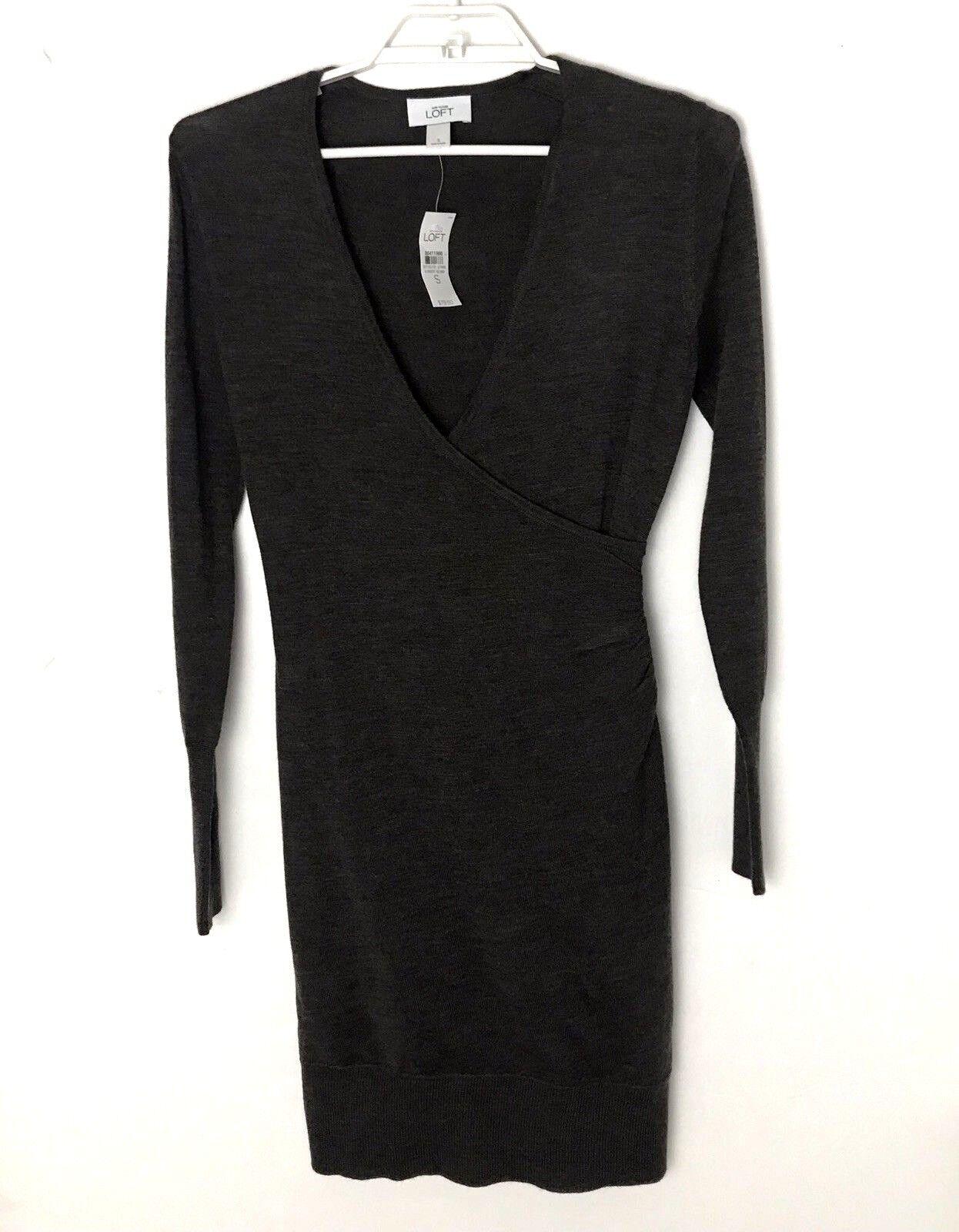 NWT Ann Taylor Loft Brown Merino Wool Blend Long sleeve Sweater Dress Small