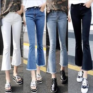Women/'s Flare Denim Bootcut Jeans Bell Bottom Wide Leg Faded Pants Long Trousers