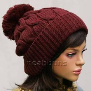 50a881d16 Details about uniSex pom pom BEANIE Knit warm winter Hat skateboard Cap Ski  new LSK burgundy