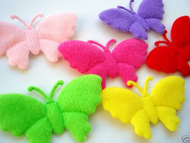 60 Padded Felt Fancy Wing Bright Color Butterfly Antenna Applique/trim/bow H266