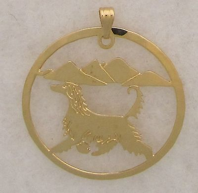 Afghan Hound Jewelry Gold Head Pendant by Touchstone Dog Designs