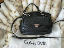 CALVIN KLEIN QUILTED FRONT BLACK LEATHER SATCHEL IN EUC