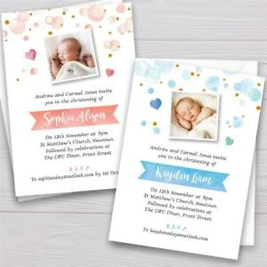 Details About Personalised Christening Baptism Birthday Party Invitations Invites Boy Or Girl