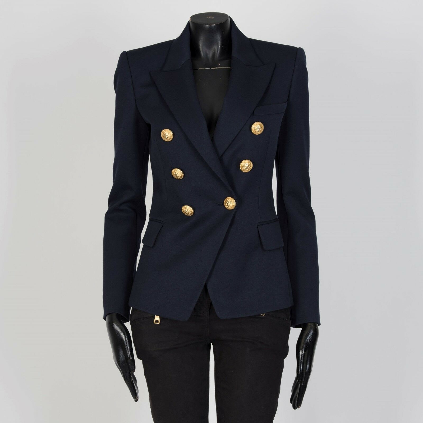 BALMAIN 2195  Double Breasted Blazer In Navy Wool Twill