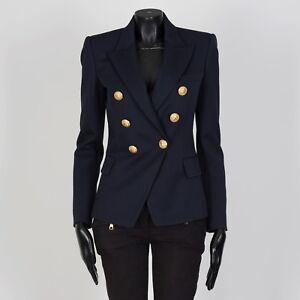BALMAIN-2195-Double-Breasted-Blazer-In-Navy-Wool-Twill