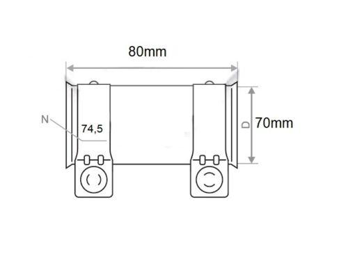 5 Stück Rohrverbinder Doppelschelle Auspuff Abgasanlage Ø 70 mm x Länge 80 mm