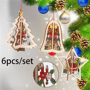 6PCS-SET-Bell-Wood-3D-Christmas-Decor-Xmas-Tree-Pendant-Hanging-Decorations
