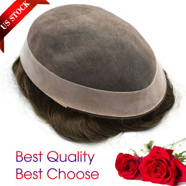 Mens Toupee Hairpiece Mono Poly Remy Indian 100% Human Hair Wig D7-3