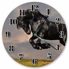 "10.5"" SHINY BLACK MUSTANG CLOCK - Large 10.5"" Wall Clock - Home Décor - 3132"