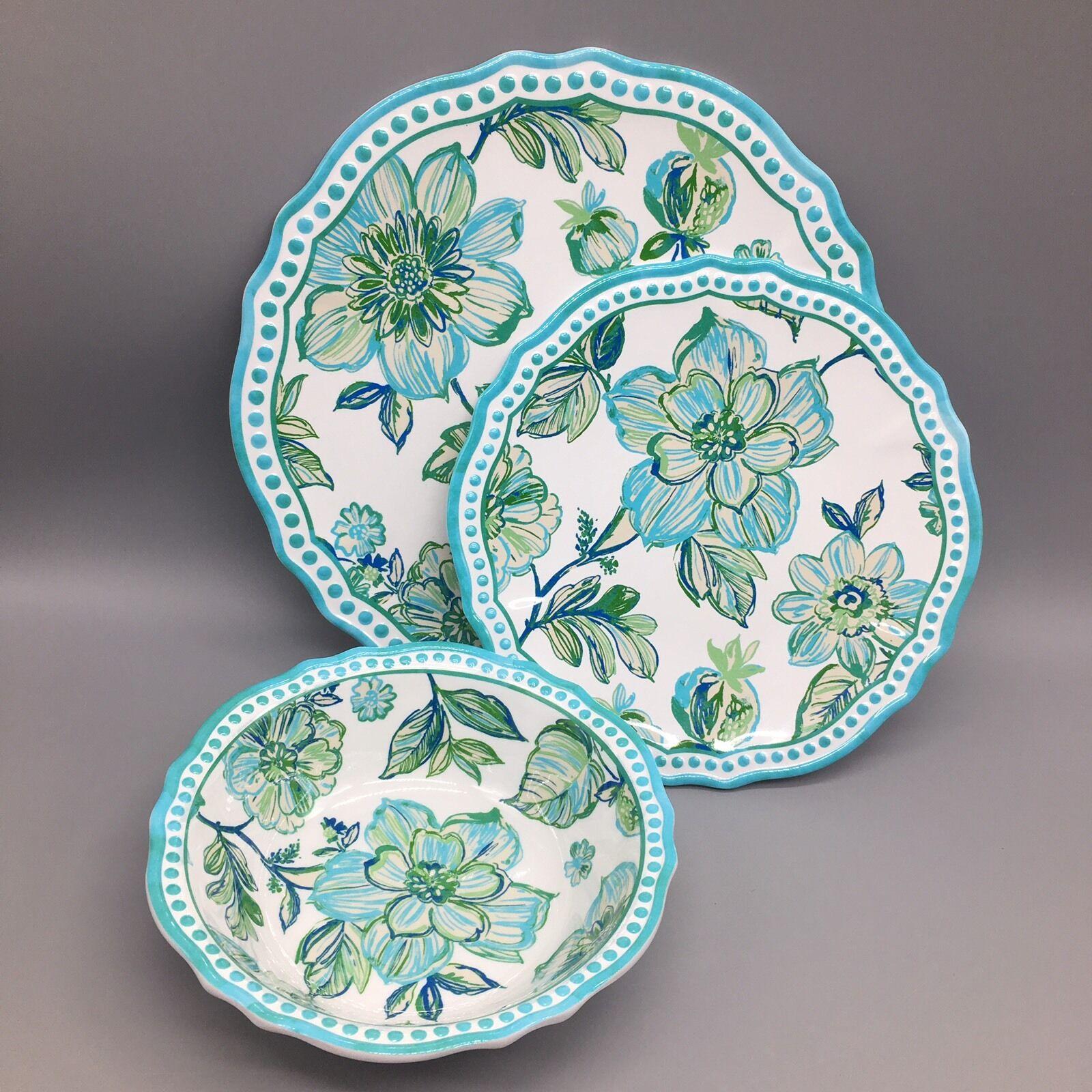12pc Cynthia Rowley Dîner Assiettes À Salade Bol Set mélamine Sketch Floral Turquoise