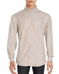 New-With-Tags-Brunello-Cucinelli-Brown-Striped-Oxford-Dress-Shirt-Sz-XL-575-00