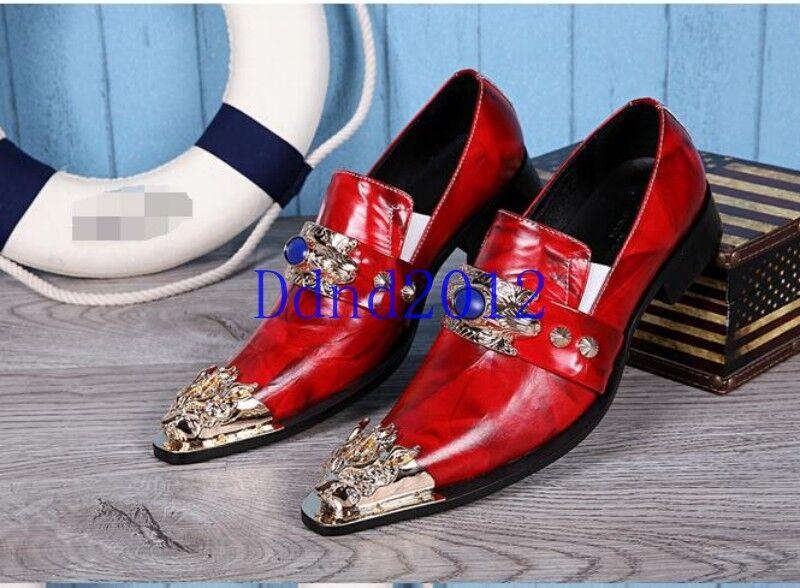 nuovo di marca Uomo Leather Wedding Formal Dress Dress Dress Pointed Metal Toe Slip On scarpe nero rosso New  la migliore selezione di