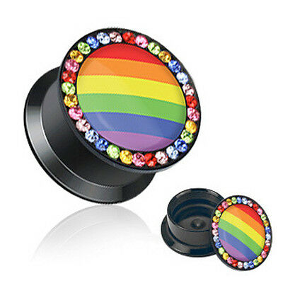 Pride Shack - Gay & Lesbian Pair Rainbow Flag Gem Plug Earrings - 00 or 2 gauge