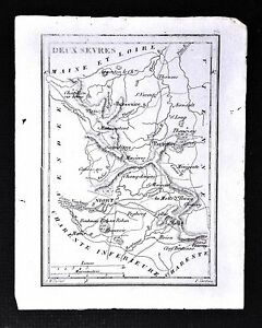 1833 Perrot Tardieu Map Deux Sevres Niort Melle Partenay