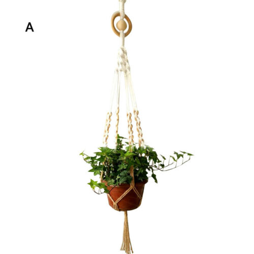 Handmade Macrame Rope Plant Hanger Garden Flower Pot Holder Hanging Basket Decor