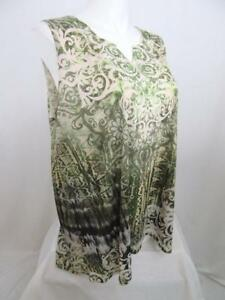 Catherines-Size-0X-Moss-Green-Polyester-Embellished-Tank