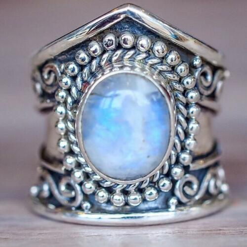 Boho 925 Silver Natural 7*9 MM Moonstone Wedding Engagement Ring Wholesale 6-10