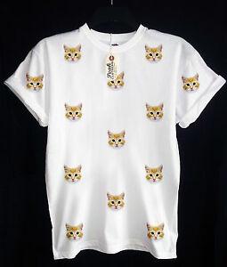d1c06e35f15 CAT PATTERN T-SHIRT - KAT KITTEN KITTY - HIPSTER - SWAG UNISEX ...