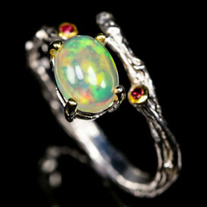 Unique-Jewelry-Design-Art-Natural-Opal-925-Sterling-Silver-Ring-RVS335