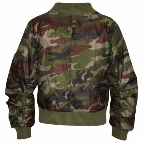 Kids Jacket Girls Boys Camouflage Bomber Padded Zip Up Biker Jacktes MA 1 Coat