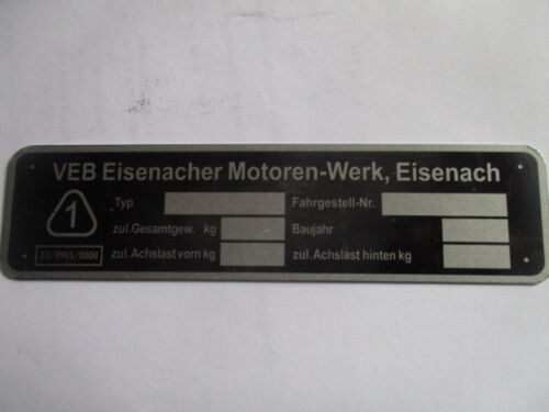 Typenschild s39 Schild Ifa DDR VEB EMW Eisenach