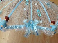 36 Personalized White Lace Baby Shower Umbrella Blue Ribbons Rattles Pacifiers