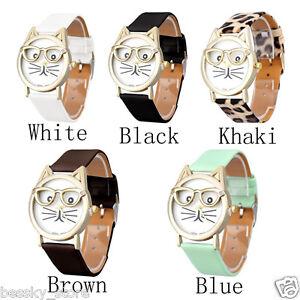 Women-Girls-Wristwatch-Analog-Glasses-Cat-Dial-Quartz-Watch-Leather-WATCH-L