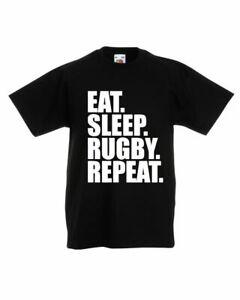 Manger-Sommeil-Rugby-repeter-T-shirt-coupe-du-monde-de-Rugby-Enfants-Garcons-amp-Filles-Tee-Top