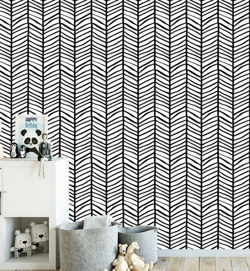 Herringbone Pattern Wallpaper Wall Mural Woven Self-Adhesive Decor Kids T121