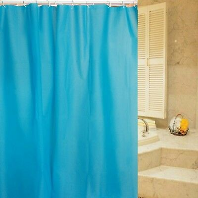 Plain Fabric Teal Blue Fabric Polyester Extra Long Shower Curtain 180 x 200 cm