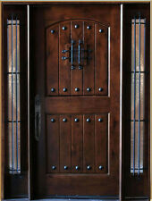 5' x 6'8 Knotty Alder Front Exterior Wood Entry Door 1D+2SL Right Hand Swing In