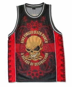 Five Finger Death Punch Bonehead Red Basketball Jersey Shirt Mens New Official