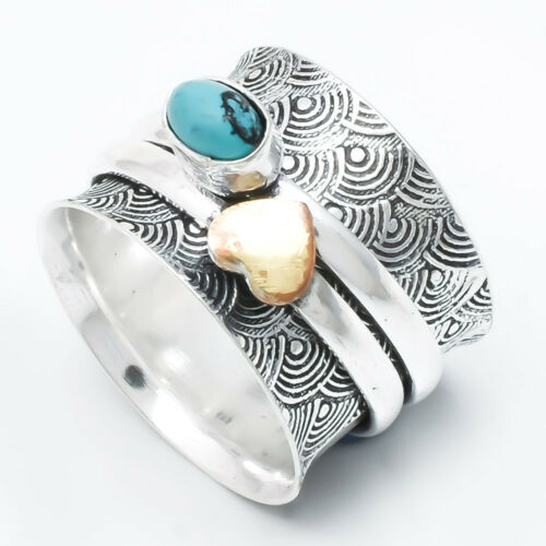Turquoise Stone Solid 925 Sterling Silver Spinner Ring Meditation Ring Size fg12