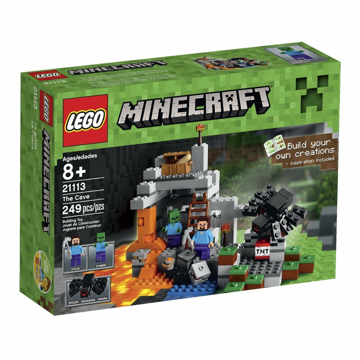 Nuovo LEGO Minecraft The Cave 21113 Playset, 2 Minifigures Steve Zombie Spider Toy
