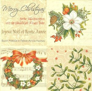 Lot de 4 Serviettes papier Fleurs Noël Gui pour Decoupage Collage Decopatch