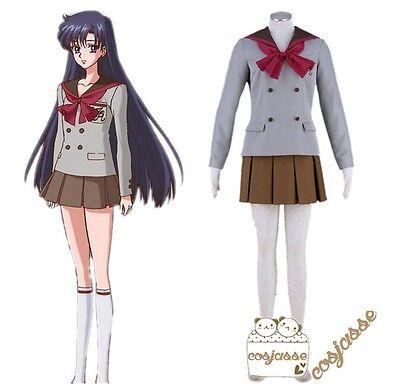 Anime Sailor Moon Mars Hino Rei Winter Uniform Dress Cosplay Costume Set Custom