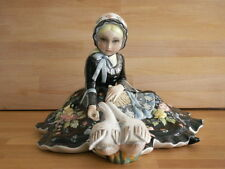 LARGE ART DECO LENCI ARTIST IGNI POTTERY FIGURE OF YOUNG GIRL FEEDING GEESE