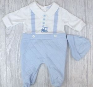 402fc90ea Details about Spanish Style Baby Boy 'Train' Quilted All In One / Babygro /  Romper with Hat