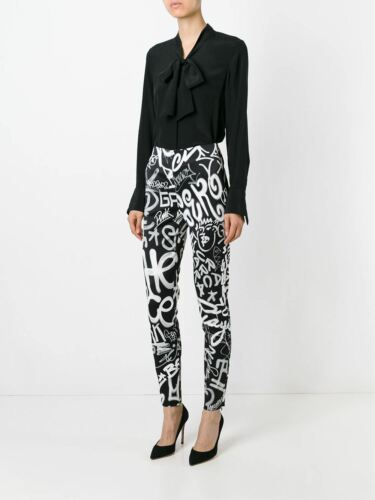 AW15 Moschino Couture X Jeremy Scott Black And White Graffiti High Rise Pants
