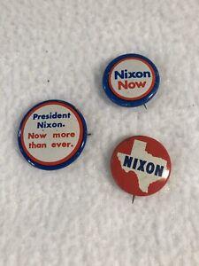 Set-of-3-Vintage-Metal-NIXON-Political-Election-Button-Pins-TEXAS-1-1-8-034-3-4-034
